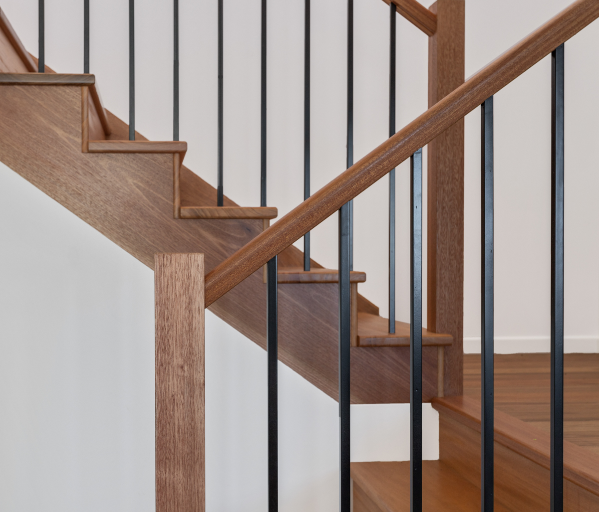 Timber & black steel stair balustrade