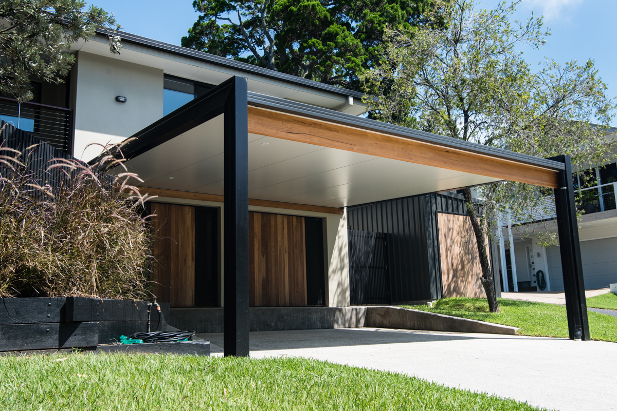 steel carport timber cladding