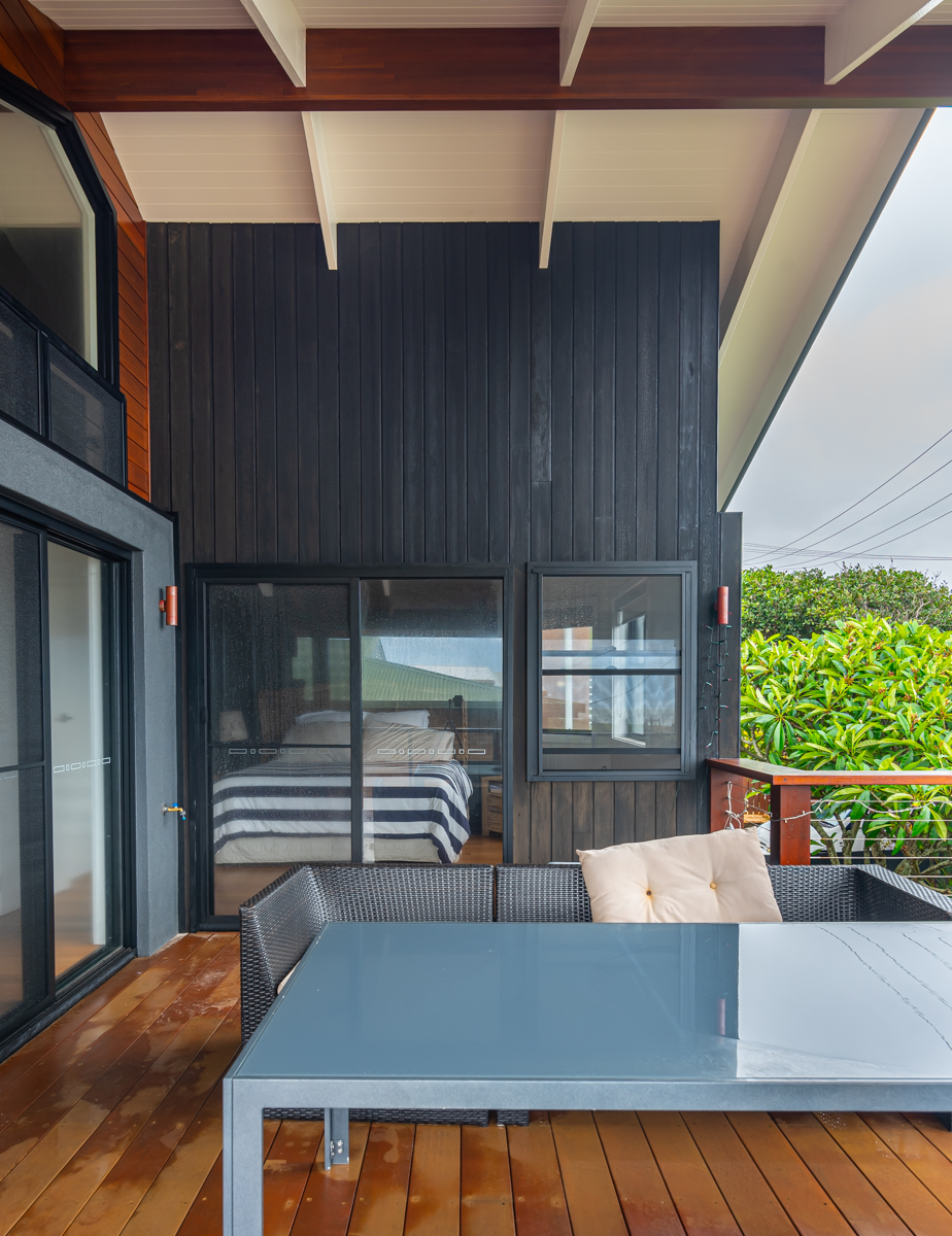 Balcony with charred timber cladding