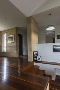 Rammed earth & spotted gum entry hall