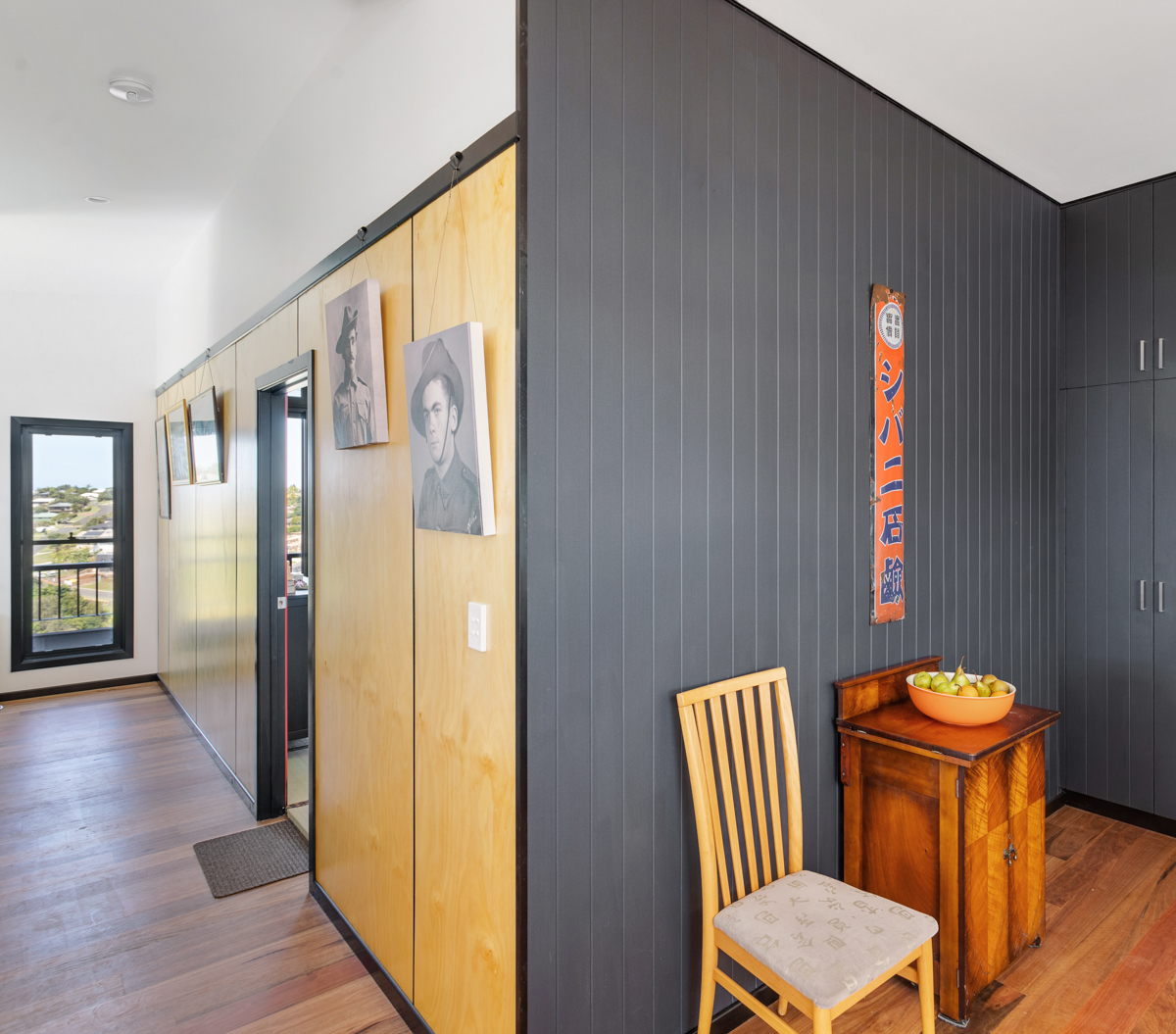 Hallway with plywood lining and grooved wall lining