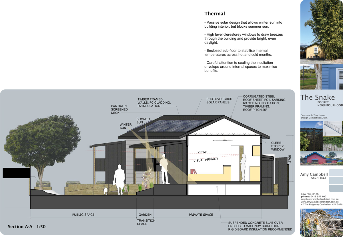 Section through tiny house deign