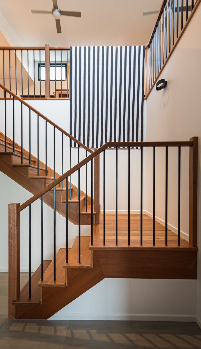 timber stair case and room above