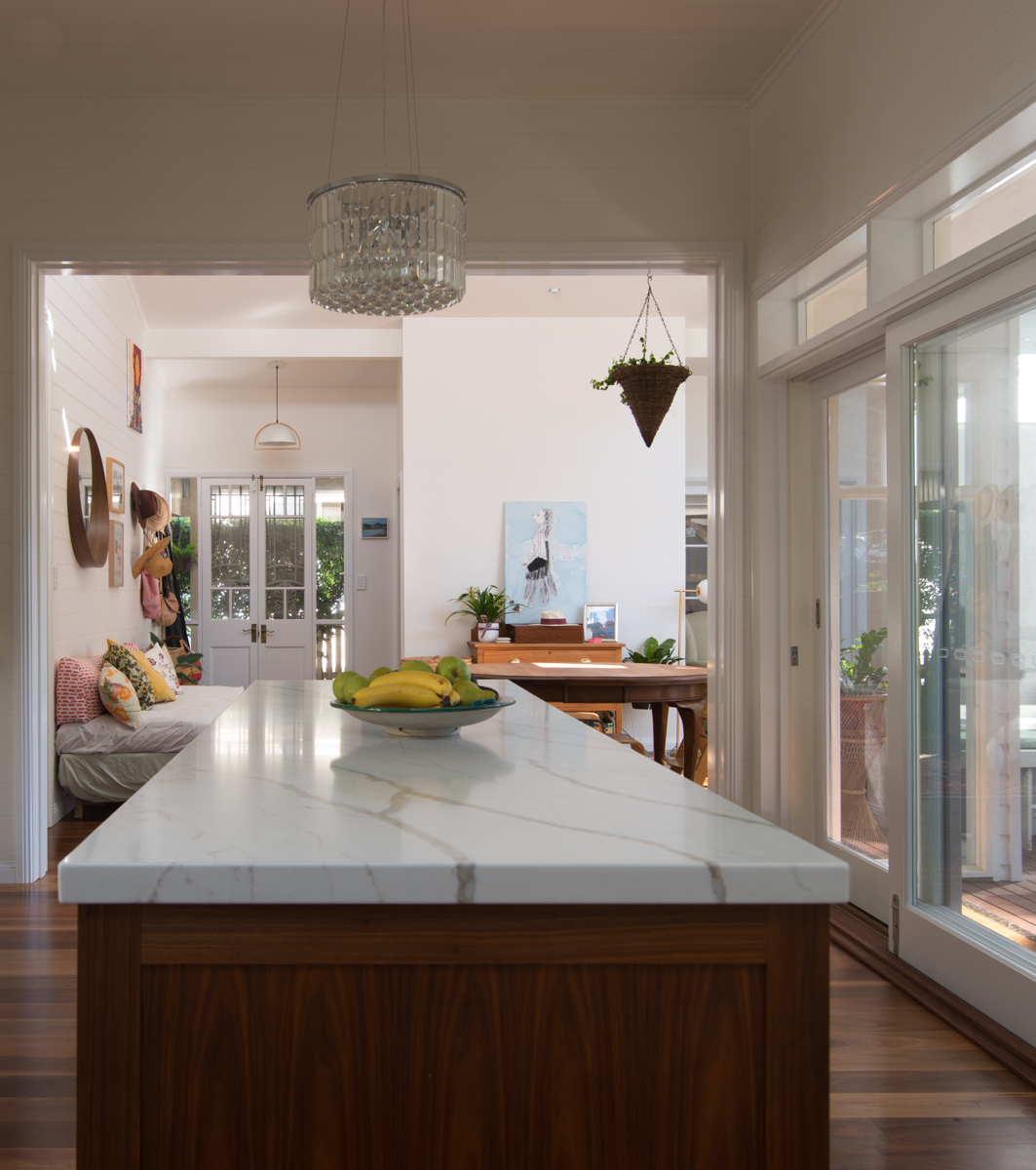 Stone and timber kitchen bench