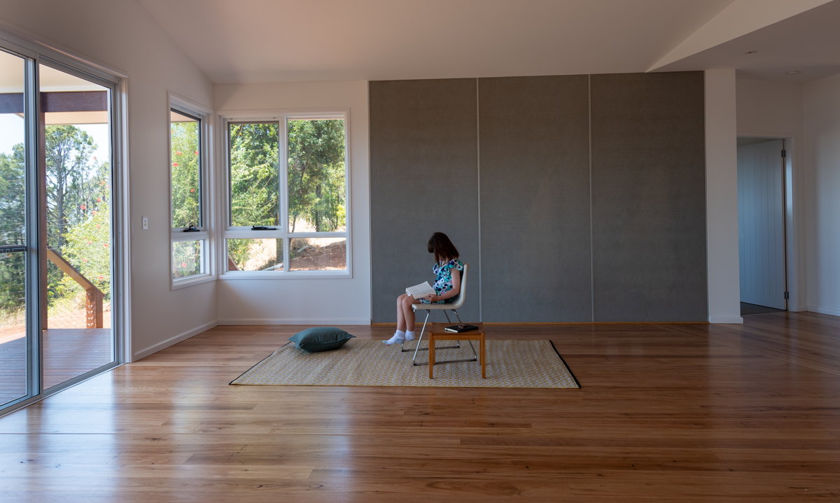 Living room, timber floor, fibre-cement wall panel
